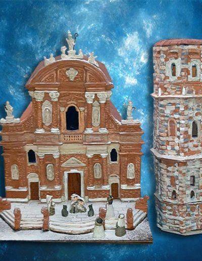 Chiesa di San Prospero , Reggio Emilia in argille policrome fatto a mano altezza 40 cm circa.