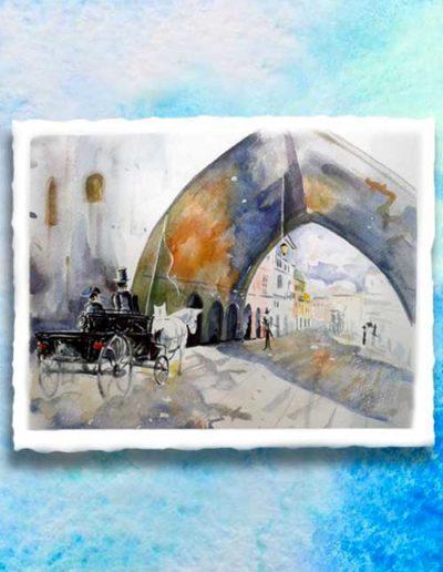 Dipinto ad acquerello eseguito da allievi, raffigurante una carrozza a cavallo