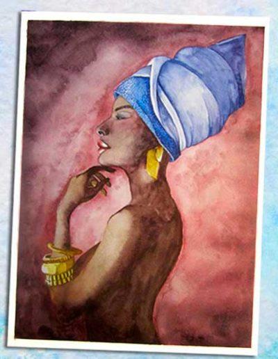 Dipinto ad acquerello eseguito da allievi, raffigurante una donna di colore