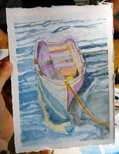 Dipinto ad acquerello dipinto da allievi raffigurante barca ormeggiata