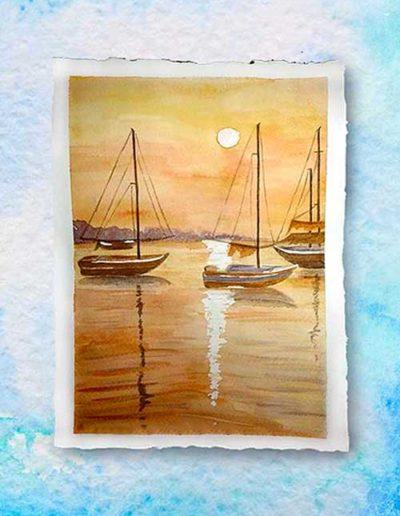 Dipinto ad acquerello eseguito da allievi, raffiguranti barche a vela al tramonto.