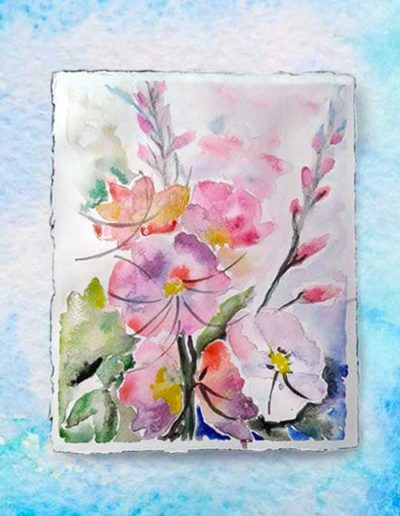 Dipinto ad acquerello dipinto da allievi raffigurante fiori rosa