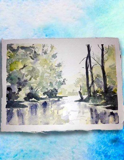 Dipinto ad acquerello dipinto da allievi raffigurante un paesaggio fluviale