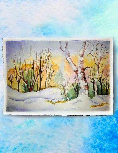 Dipinto ad acquerello dipinto da allievi raffigurante un paesaggio invernale