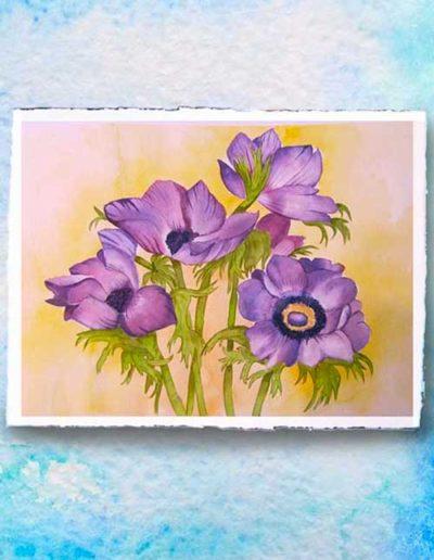 Dipinto ad acquerello eseguito da allievi, raffigurante dei fiori lilla