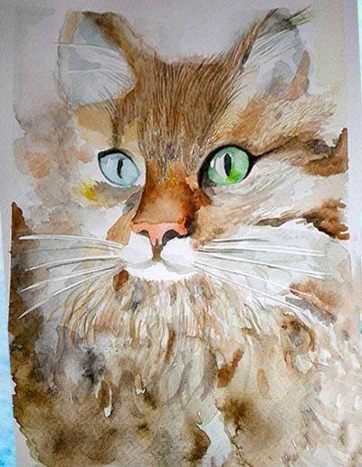 Dipinto ad acquerello eseguito da allievi, raffigurante un gatto