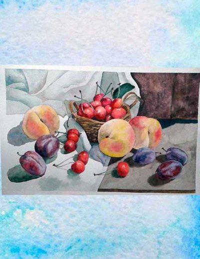 Dipinto ad acquerello eseguito da allievi, raffigurante una natura morta