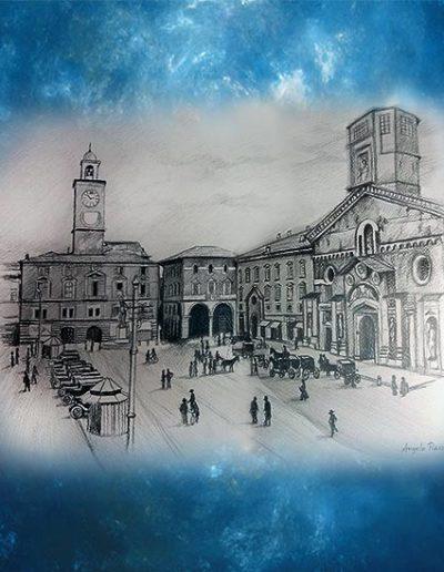 Quadro di Reggio Emilia raffigurante Piazza Prampolini a matite nere
