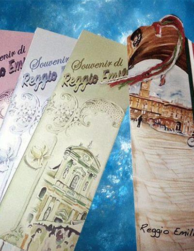 Segnalibri souvenir di Reggio Emilia con diverse immagini e colori