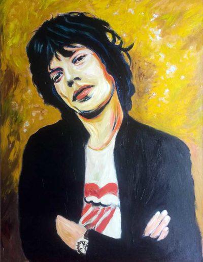 Quadro ad acrilico di Mick Jagger da giovane