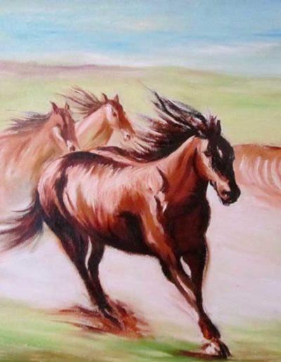Quadro dipinto a olio di cavalli