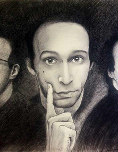 Quadro con tre ritratti a carboncino di Roberto Benigni