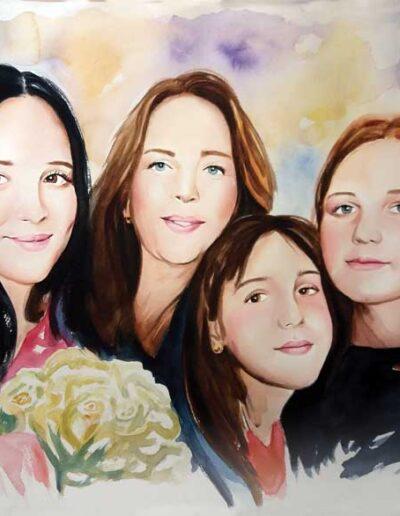Ritratto ad acquerello di mamma e tre figlie